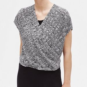 NWT-Eileen Fisher Wrap-front Sweater in Black - XL